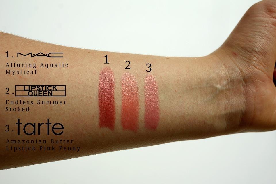 Swatches: Mac Alluring Aquatic/ Lipstick Queen Endless Summer / Tarte Amazonian Butter