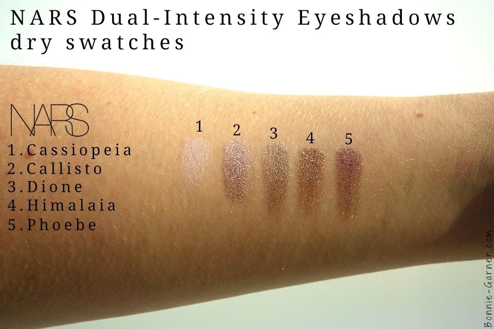 Nars Dual-Intensity eyeshadows dry swatches