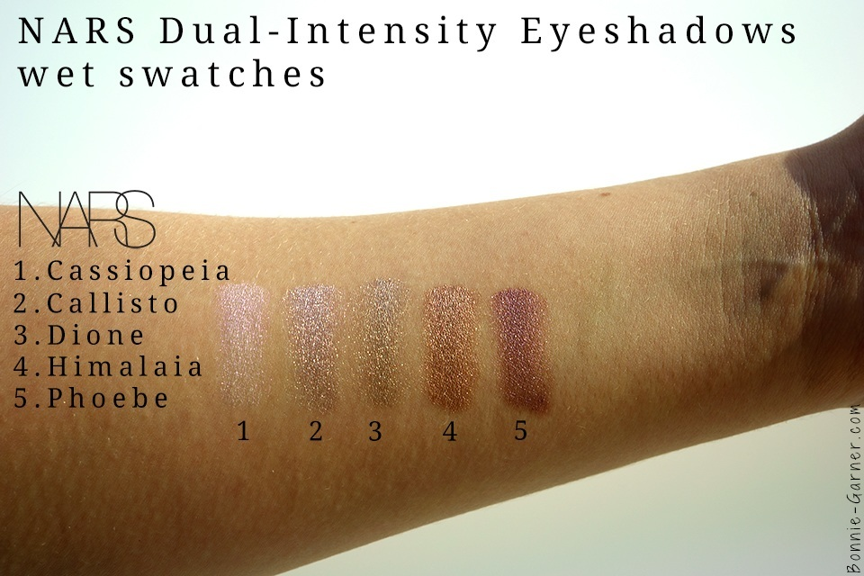 Nars Dual-Intensity eyeshadows wet swatches