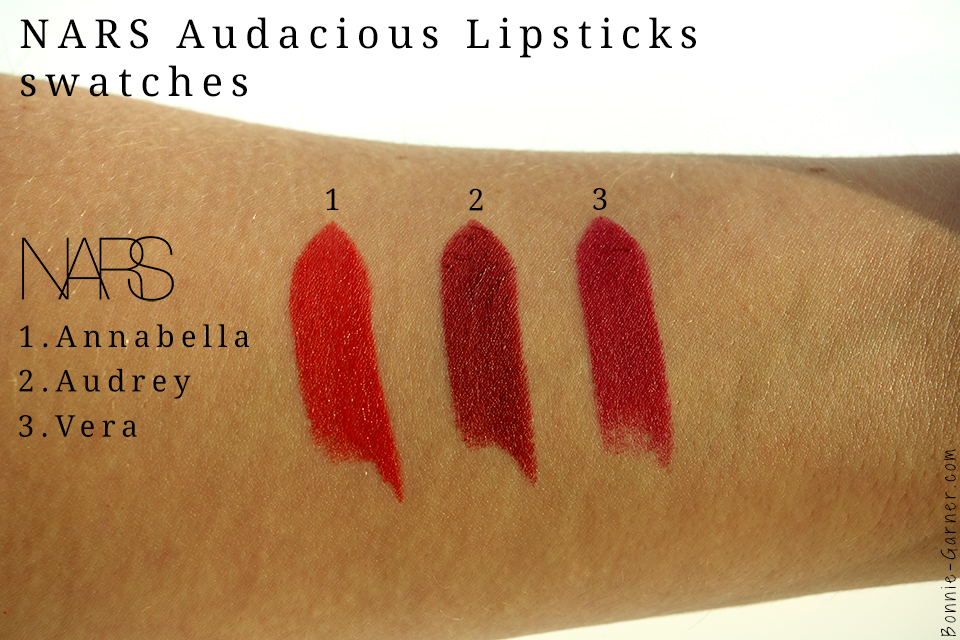 Les rouges à lèvres NARS Audacious lipstick Annabella Audrey et Vera swatches