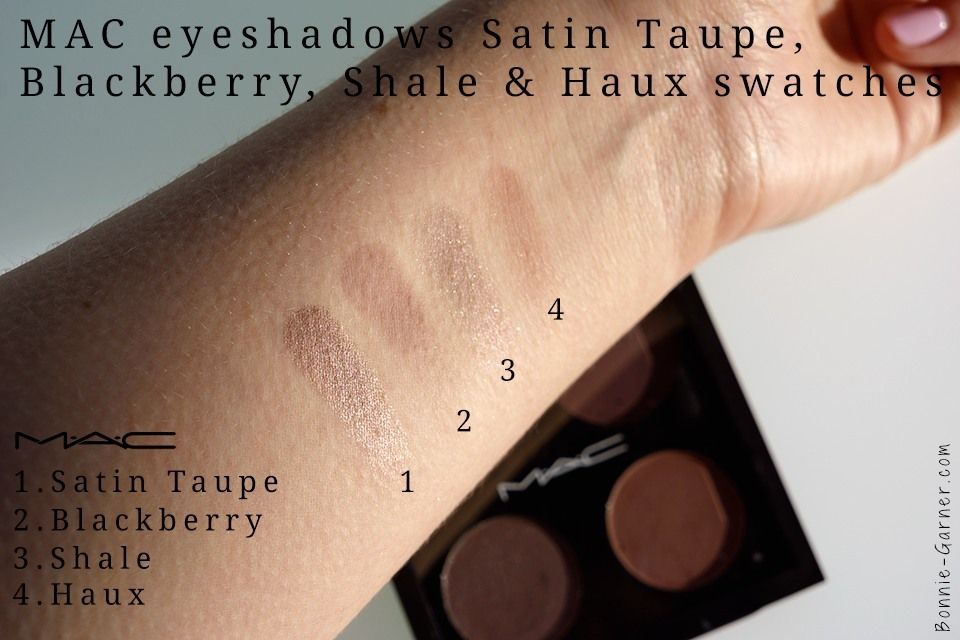 MAC eyeshadows Satin Taupe Blackberry Shale Haux swatches