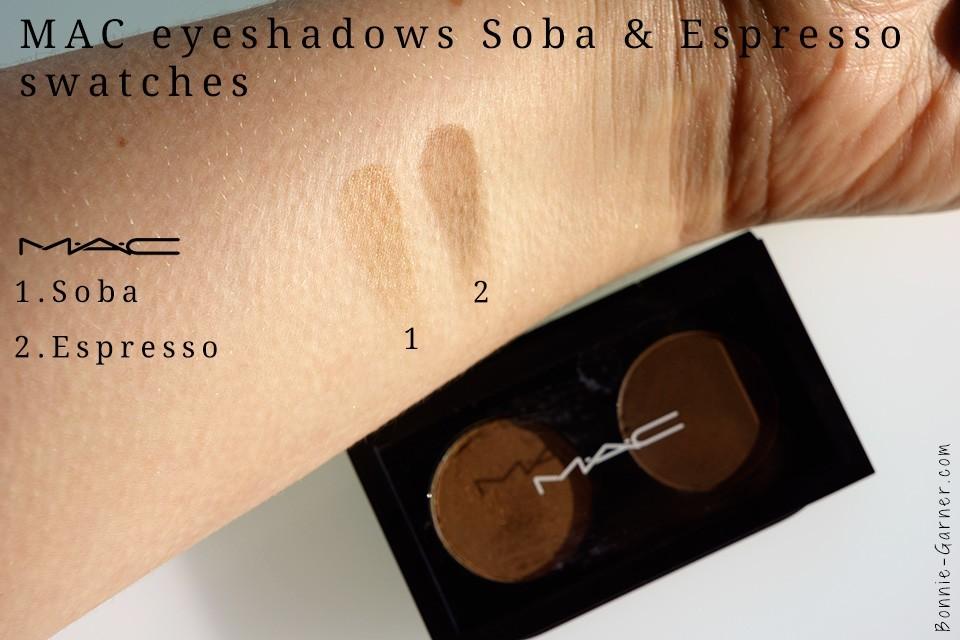 MAC eyeshadows Soba Espresso swatches
