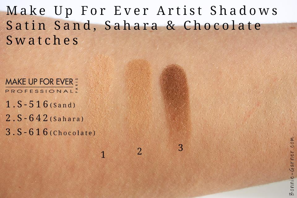 MUFE Satin Artist Shadow Sand, Sahara & Chocolate Swatches