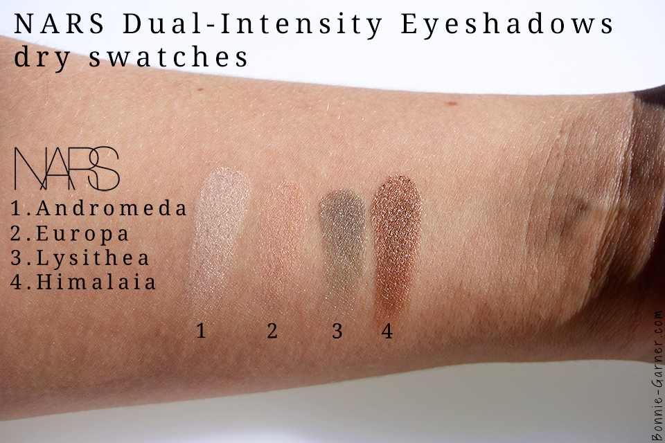 palette NARSissist Dual-Intensity swatches: Andromeda, Europa, Lysithea & Himalia dry