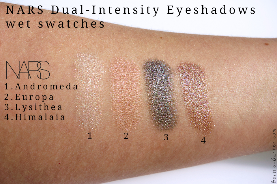 palette NARSissist Dual-Intensity swatches: Andromeda, Europa, Lysithea & Himalia wet
