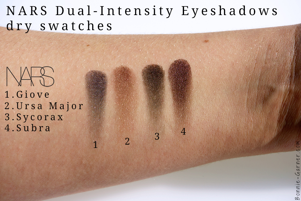 palette NARSissist Dual-Intensity swatches: Giove, Ursa Major, Sycorax & Subra dry