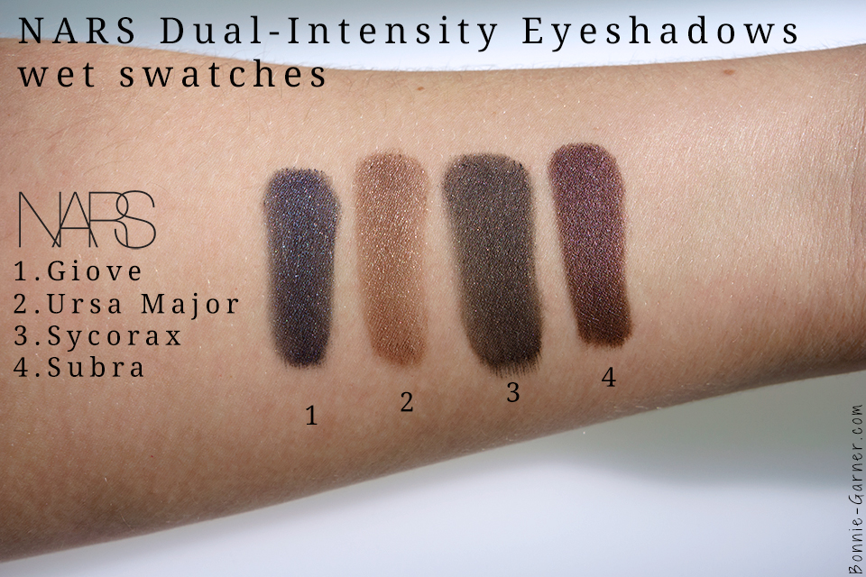 palette NARSissist Dual-Intensity swatches: Giove, Ursa Major, Sycorax & Subra wet