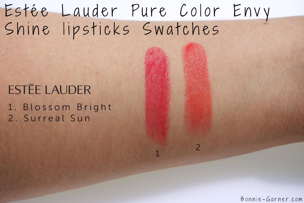 Estée Lauder Pure Color Envy lipstick Shine Surreal Sun Blossom Bright swatches