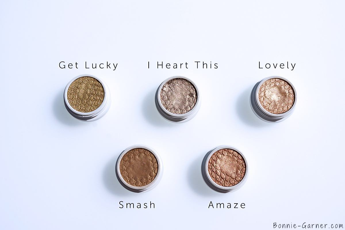 ColourPop Super Shock Eyeshadows Get Lucky, I Heart This, Lovely, Smash, Amaze