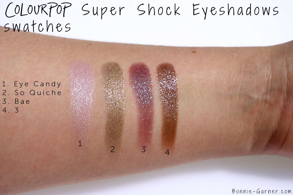 ColourPop Super Shock Eyeshadows 3, So Quiche, Bae, Eye Candy swatches