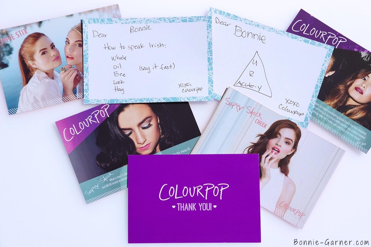 ColourPop Super Shock Eyeshadows thank you notes