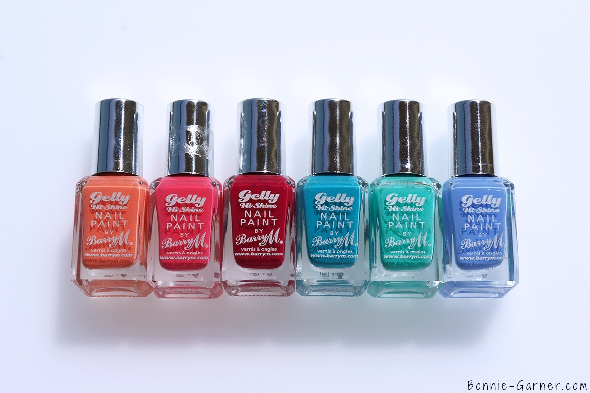 Barry M Gelly Hi Shine Nail Polishes Papaya, Grapefruit, Pomegranante, Guava, Green Berry, Blue Berry