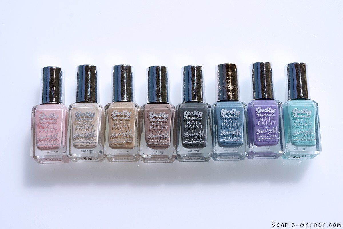 Barry M Gelly Hi Shine Nail Polishes Rose hip, Coconut, Lychee, Almond, Chai, Huckleberry, Prickly Pear, Sugar Apple