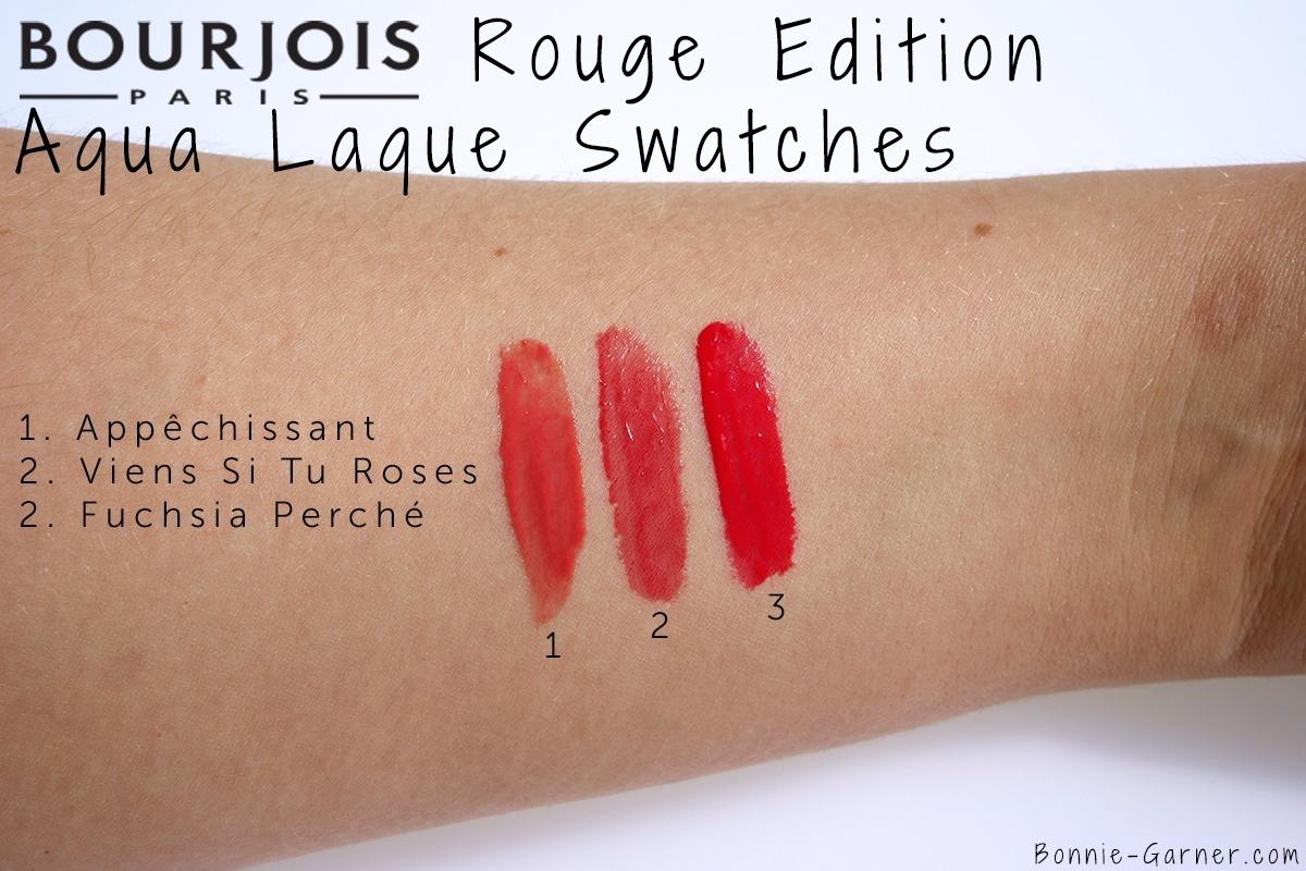 Bourjois Rouge Edition Aqua Laque, Appêchissant, Viens Si Tu Roses, Fuchsia Perché swatches