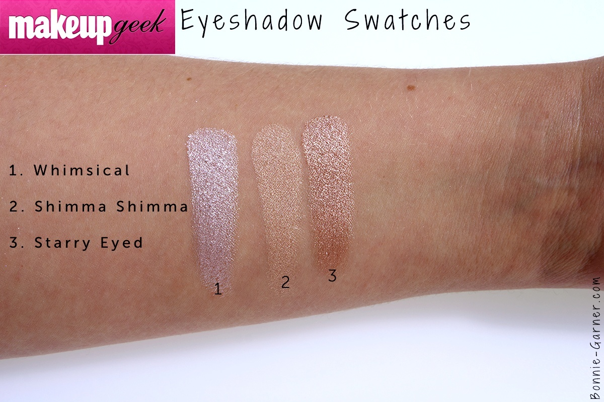 Makeup Geek Foiled eyeshadows Whimsical, Shimma Shimma & Starry Eyed