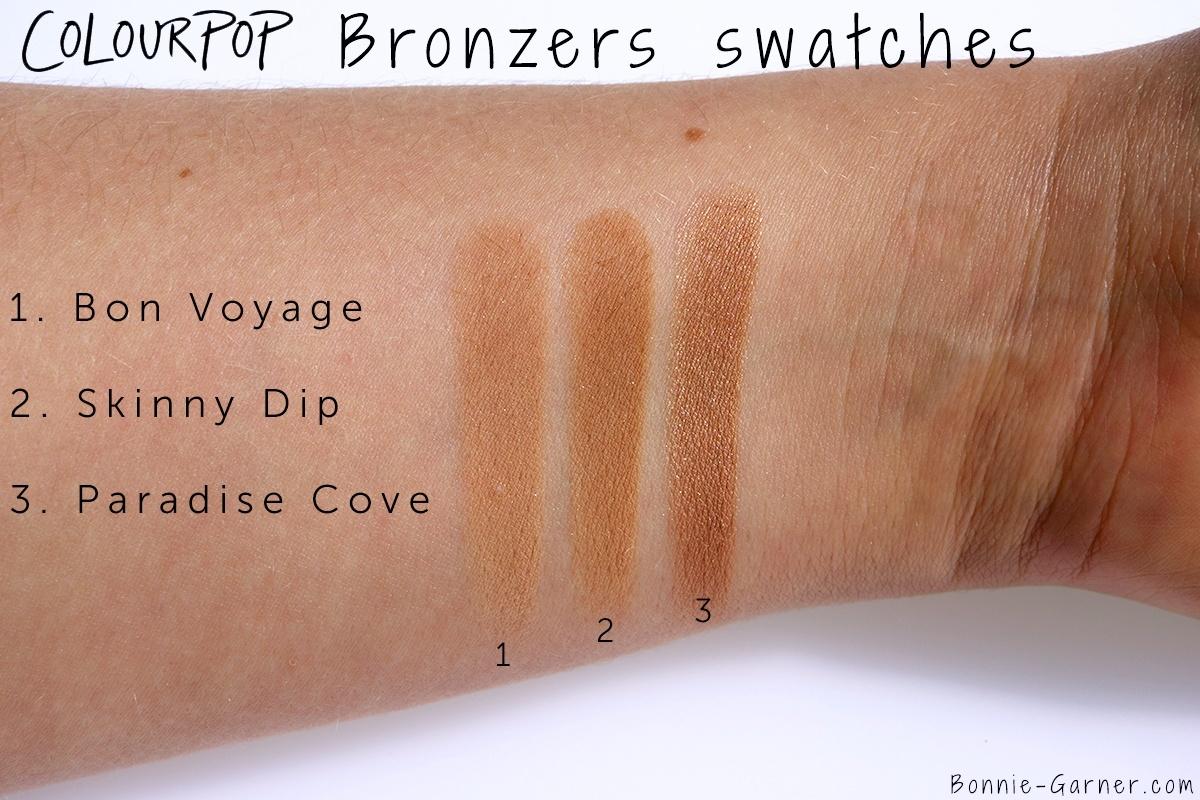 ColourPop Bronzers Bon Voyage, Skinny Dip, Paradise Cove swatches