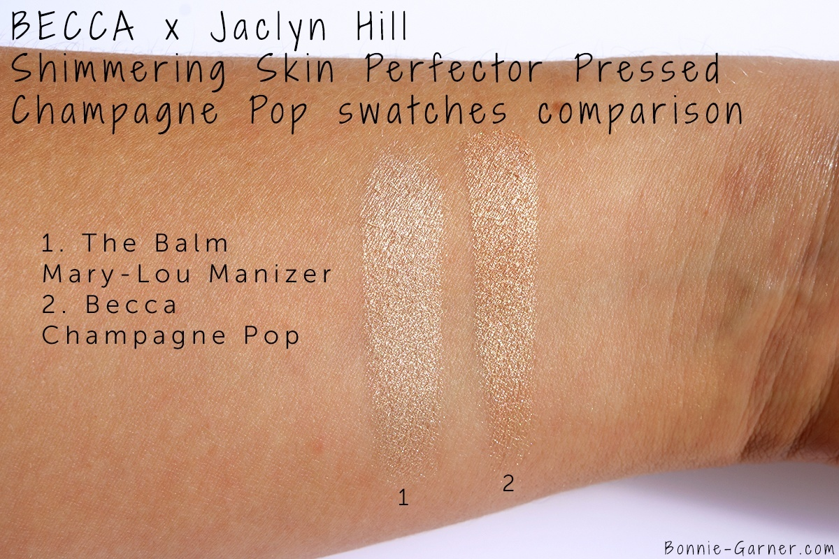 Becca x Jaclyn Hill Shimmering Skin Perfector Pressed Champagne Pop The Balm Mary-Lou Manizer swatch comparison
