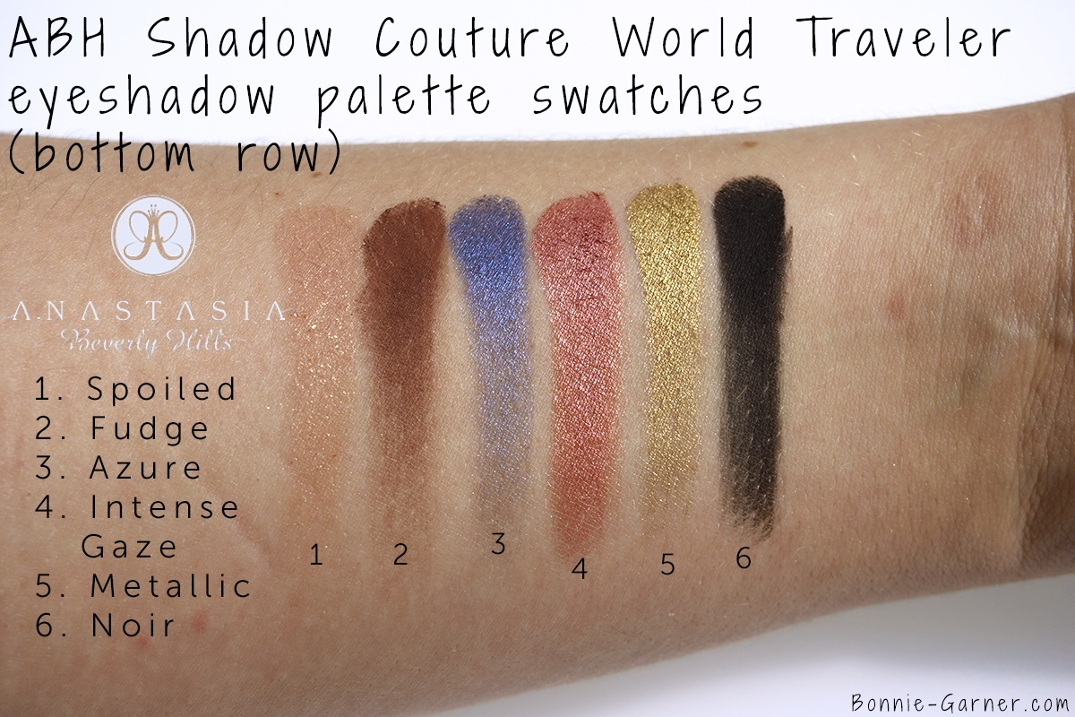 Anastasia Beverly Hills Shadow Couture World Traveler eyeshadow palette bottom row swatches