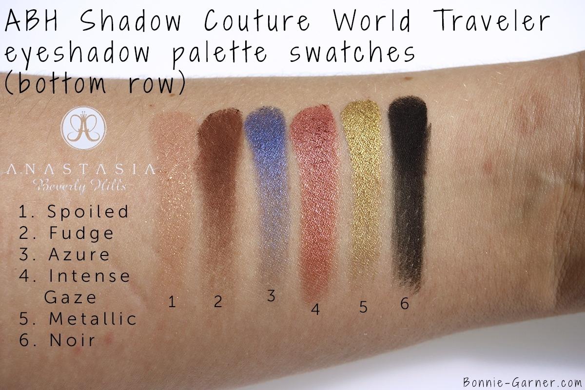 Anastasia Beverly Hills Shadow Couture World Traveler eyeshadow palette bottom row swatches