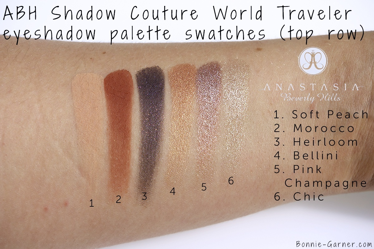 Anastasia Beverly Hills Shadow Couture World Traveler eyeshadow palette top row swatches