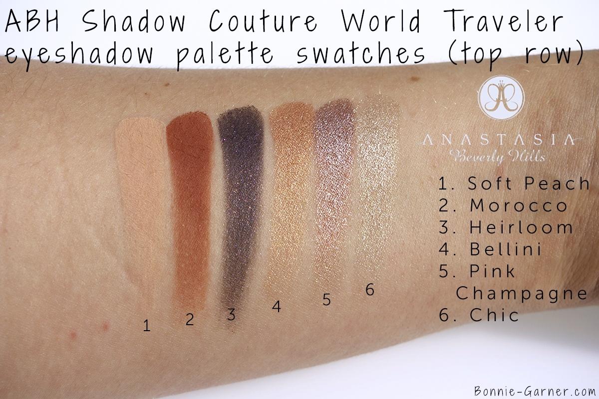 Anastasia Beverly Hills Shadow Couture World Traveler eyeshadow palette top row swatches