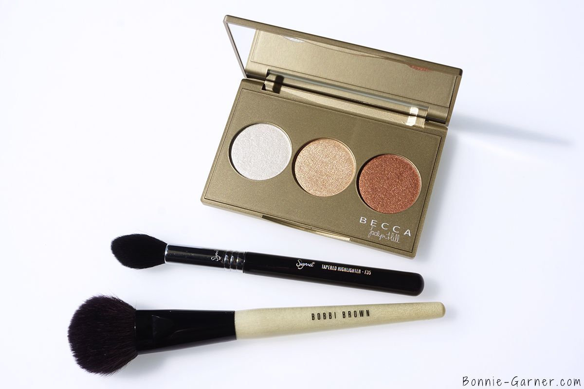 BECCA Shimmering Skin Perfector Pressed Champagne Glow palette, Sigma F35, Bobbi Brown Blush Brush