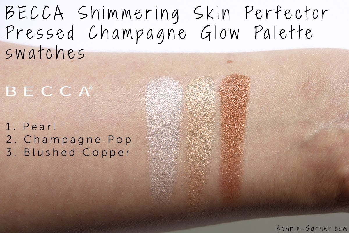 BECCA Shimmering Skin Perfector Pressed Champagne Glow palette swatches
