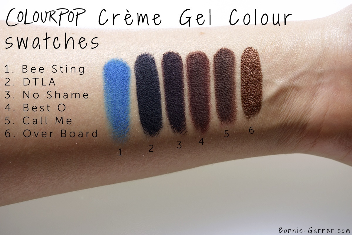 Colourpop Creme Gel Colour Best O, No Shame, Over Board, Bee Sting, Call Me, DTLA swatches