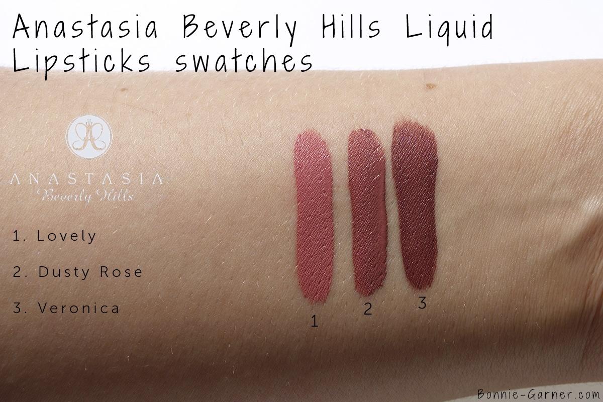Anastasia Beverly Hills Liquid Lipstick Lovely, Dusty Rose, Veronica swatches