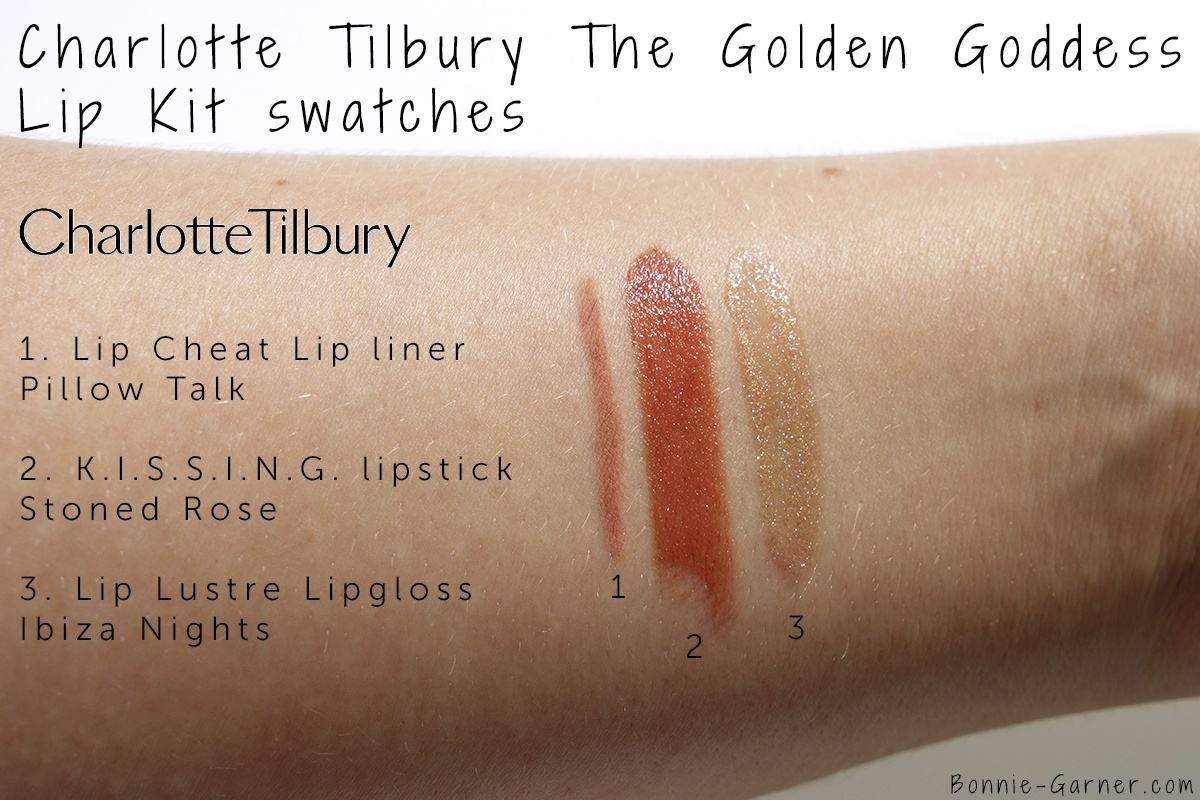 Charlotte Tilbury The Golden Goddess Lip Kit: Lip Cheat lip liner Pillow Talk, K.I.S.S.I.N.G. lipstick Stoned Rose, Lip Lustre lip gloss Ibiza Nights swatches