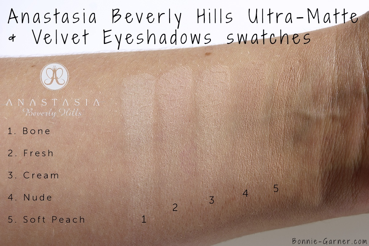 Anastasia Beverly Hills Eyeshadows: Bone, Fresh, Cream, Nude, Soft Peach swatches