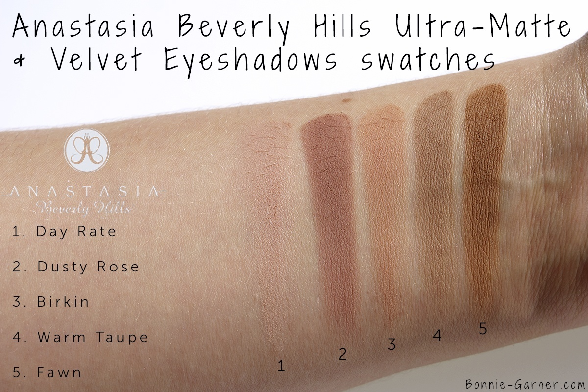 Anastasia Beverly Hills Eyeshadows: Day Rate, Dusty Rose, Birkin, Warm Taupe, Fawn swatches