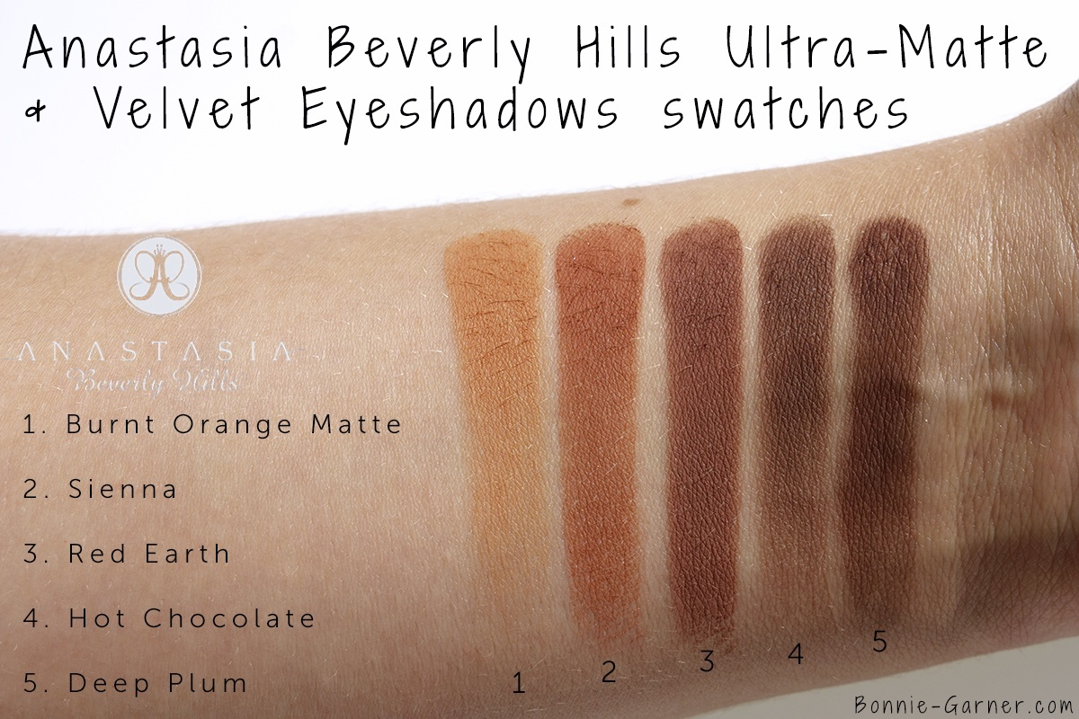 Anastasia Beverly Hills Eyeshadows: Burnt Orange Matte, Sienna, Red Earth, Hot Chocolate, Deep Plum swatches