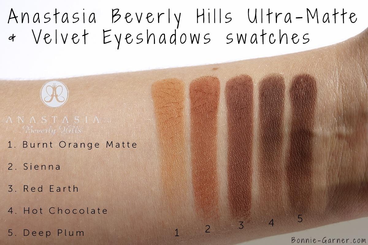 Anastasia Beverly Hills Eyeshadows: Burnt Orange Matte, Sienna, Red Earth, Hot Chocolate, Deep Plum swatches
