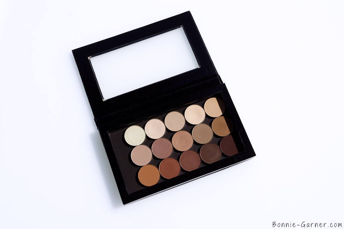 Anastasia Beverly Hills Eyeshadows: Bone, Fresh, Cream, Nude, Soft Peach, Day Rate, Dusty Rose, Birkin, Warm Taupe, Fawn, Burnt Orange Matte, Sienna, Red Earth, Hot Chocolate, Deep Plum