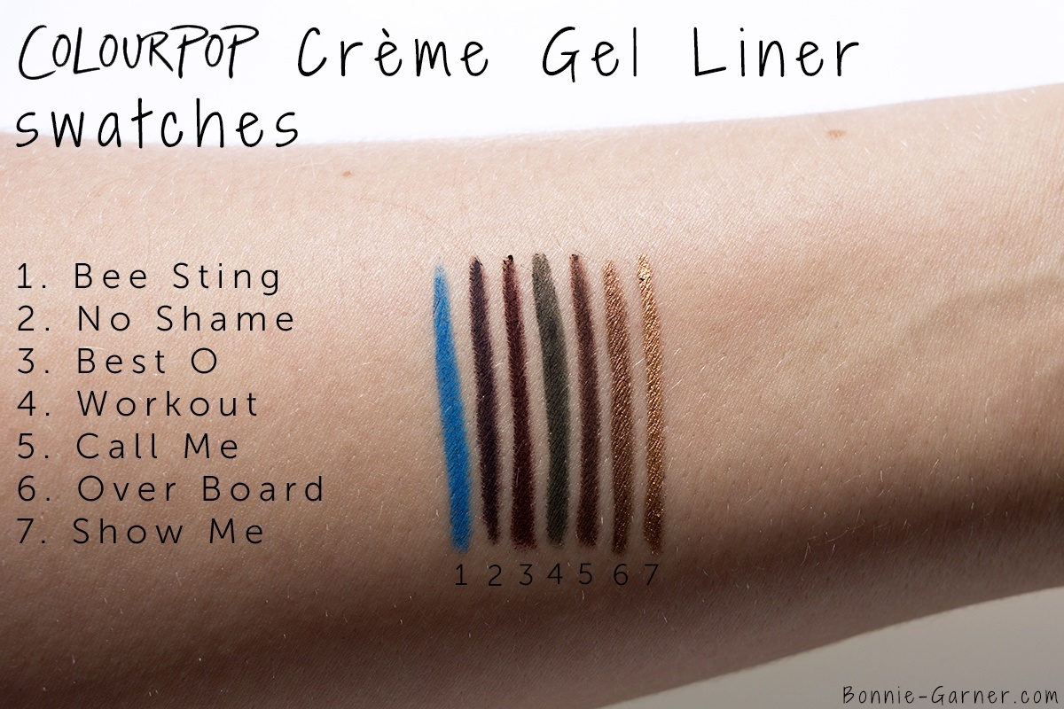 Colourpop Creme Gel Liner Bee Sting, No Shame, Best O, Workout, Call Me, Over Board, Show Me swatches