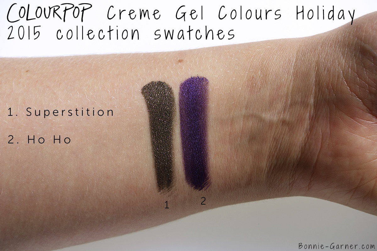 ColourPop Holiday 2015 collection Creme Gel colour Superstition, Ho Ho swatches