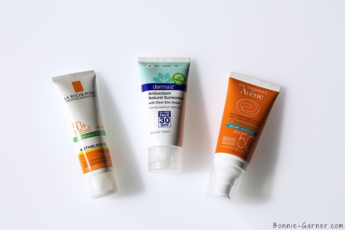 protection solaire anti-UV quotidienne derma e antioxydant natural sunscreen SPF30, La Roche Posay Anthelios XL SPF50, Avene Cleanance solaire SPF50
