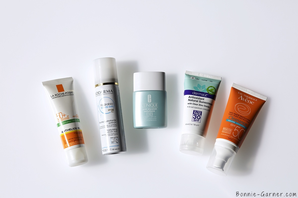 protection solaire anti-UV quotidienne derma e antioxydant natural sunscreen SPF30, La Roche Posay Anthelios XL SPF50, Avene Cleanance solaire SPF50, Hydrabio eau de soin SPF30, Clinique BB cream SPF40