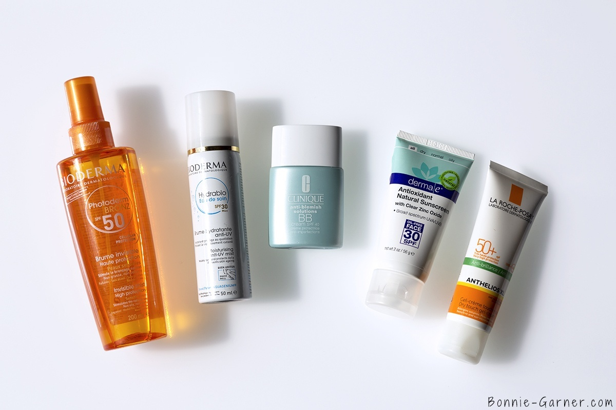 protection solaire anti-UV quotidienne derma e antioxydant natural sunscreen SPF30, La Roche Posay Anthelios XL SPF50, Hydrabio eau de soin SPF30, Clinique BB cream SPF40, Photoderm Bronz SPF50