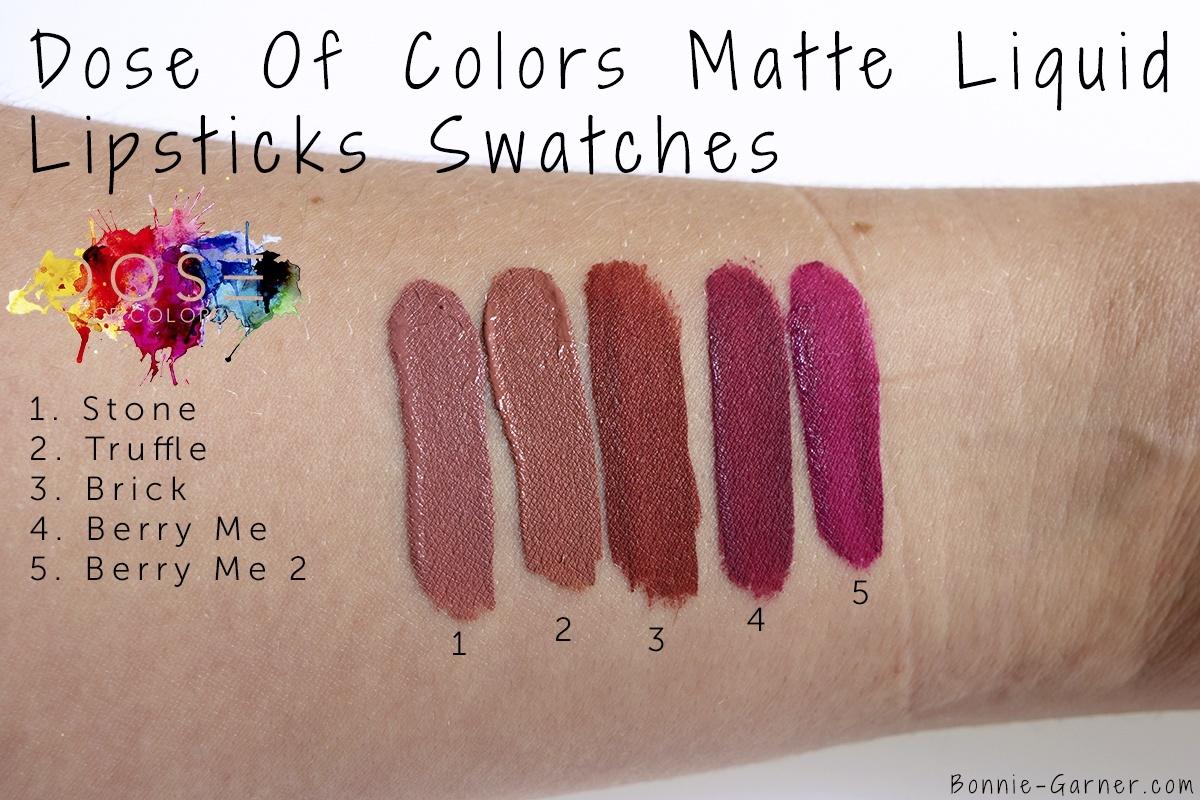 Dose Of Colors matte liquid lipstick Stone, Truffle, Brick, Berry Me, Berry Me 2 swatches