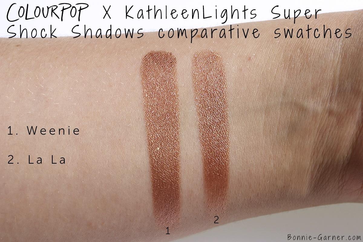 ColourPop X KathleenLights Where The Night Is: Weenie VS La La Super Shock Shadows comparative swatches