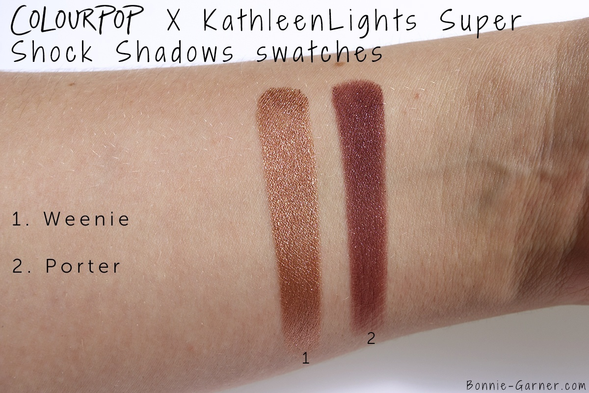 ColourPop X KathleenLights Where The Night Is: Weenie, Porter Super Shock Shadows swatches
