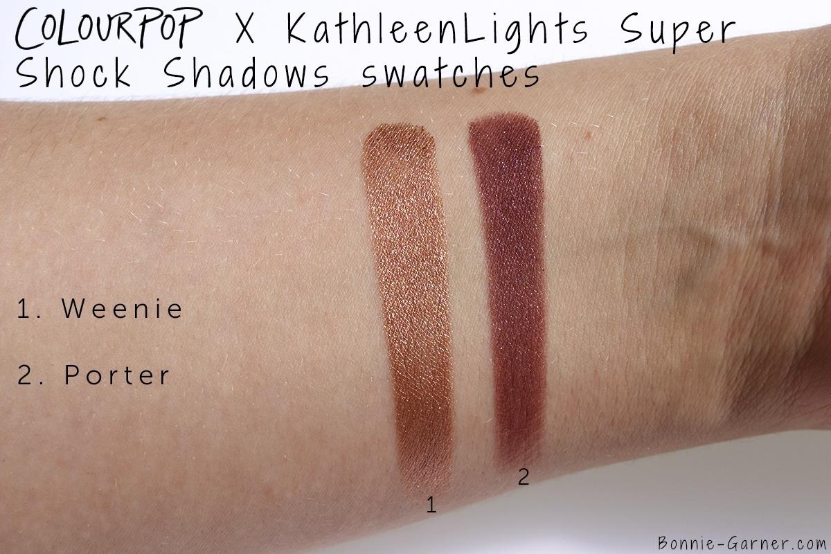 ColourPop X KathleenLights Where The Night Is: Weenie, Porter Super Shock Shadows swatches