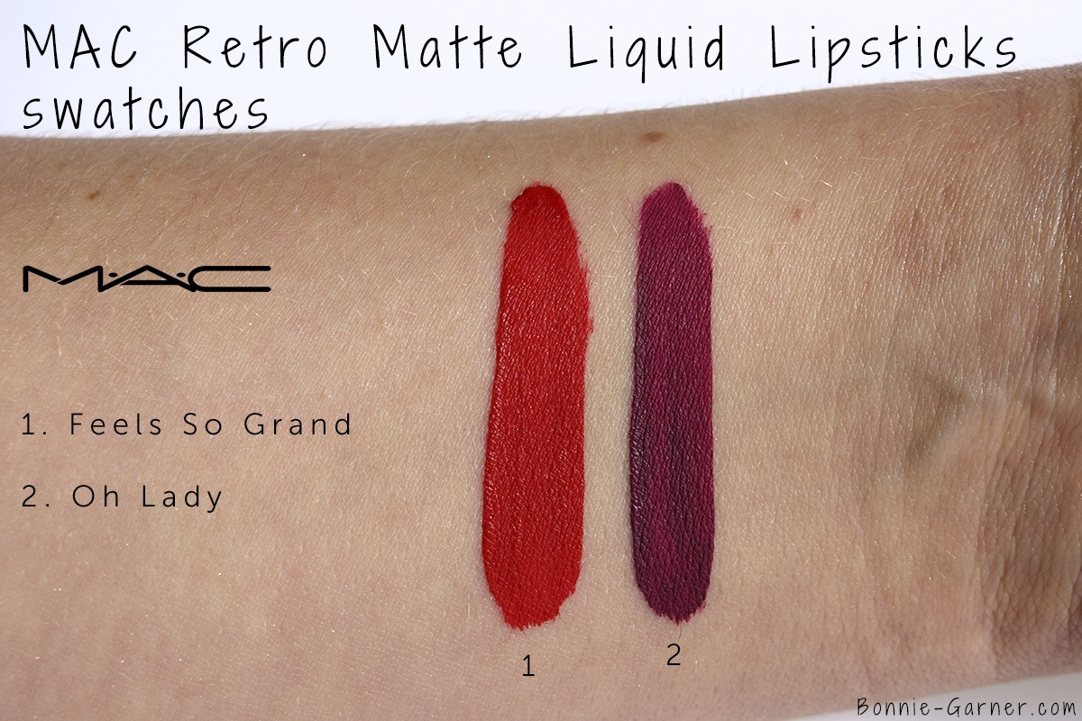 MAC Retro Matte Liquid Lipstick Feels So Grand, Oh Lady swatches
