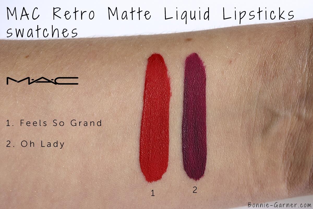 MAC Retro Matte Liquid Lipstick Feels So Grand, Oh Lady swatches