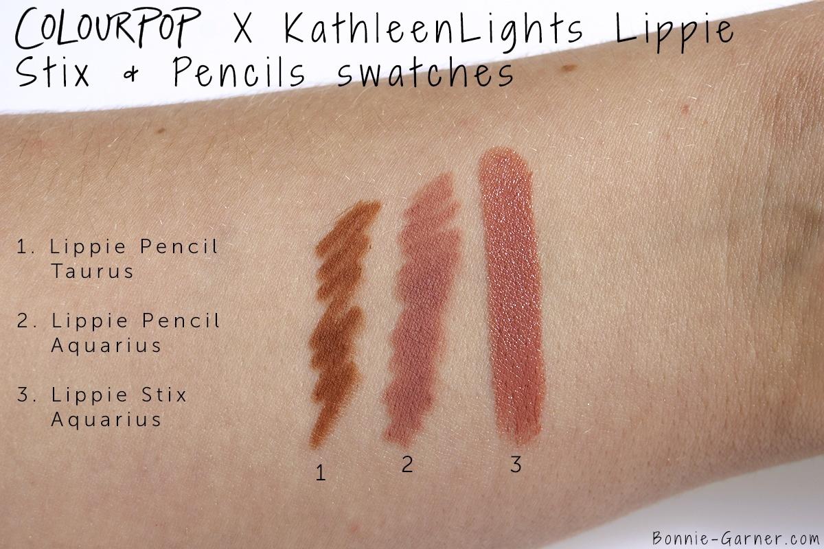 ColourPop X KathleenLights Where The Night Is: Aquarius Lippie Stix, Aquarius Lippie Pencil, Taurus Lippie Pencil swatches