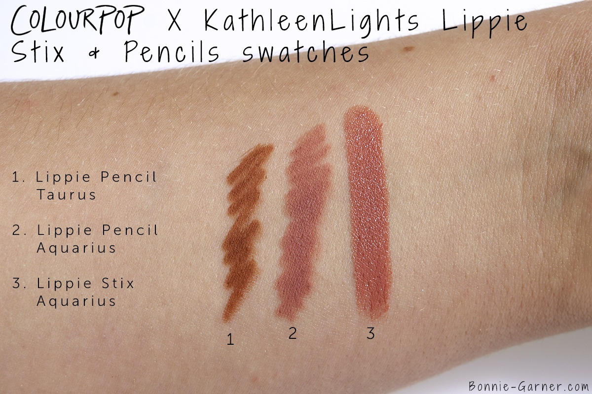ColourPop_X_KathleenLights_Where_The_Night_Is_Aquarius_Lippie_Stix_Lippie_Taurus_Pencil_swatches