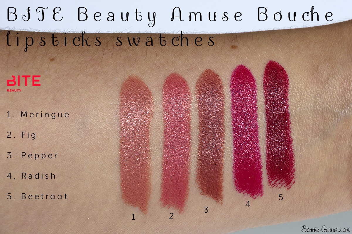 BITE Beauty Amuse Bouche lipsticks Meringue, Fig, Pepper, Radish, Beetroot swatches