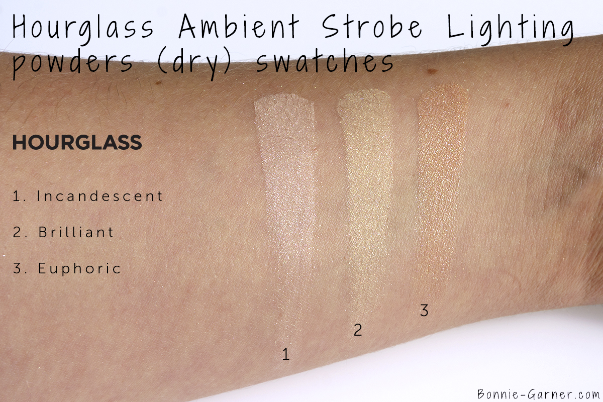 Hourglass Ambient Strobe Lighting Powder Incandescent, Brilliant, Euphoric (dry) swatches